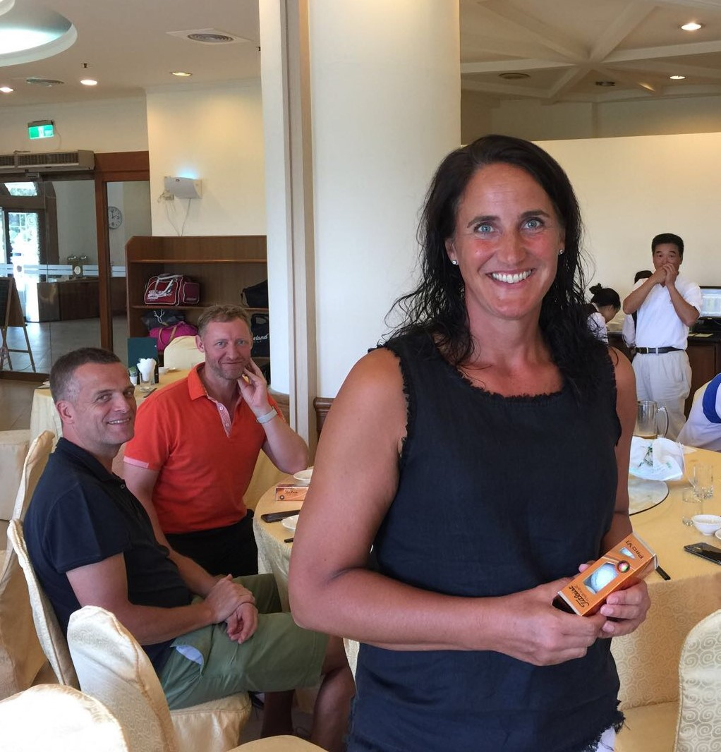 Jeanette Cervell's first game with IGST and winner of a Ladies Long Drive prize